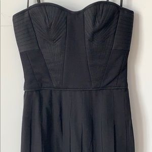 BCBG MAXAZRIA Black Bustier Pleated Chiffon Dress
